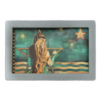 Mermaid by the Sea with Moon and Stars Belt Buckles
