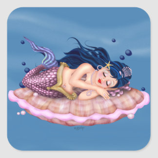 MERMAID CARTOON Small 1½ inch sheet of 20 Square M Square Sticker