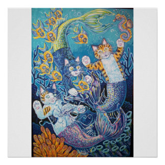 MERMAID CATS POSTER