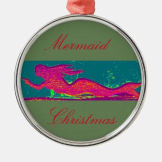 mermaid christmas green metal ornament