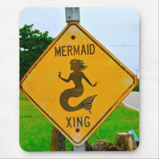 Mermaid Crossing Roadsign Mouse Pad