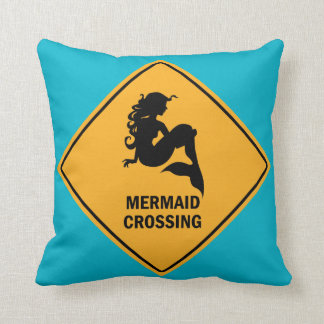Mermaid Crossing Sign Pillow