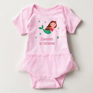 Mermaid Cute 1st Christmas Baby Bodysuit