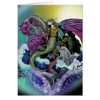 Mermaid&Dolphin~greeting card