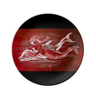 Mermaid & Dolphin on a Porcelain Plate