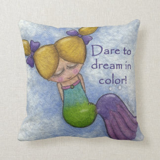 Mermaid Dreams in Color Throw Pillow