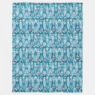 MERMAID FANTASEA Whimsical Nautical Watercolor Fleece Blanket