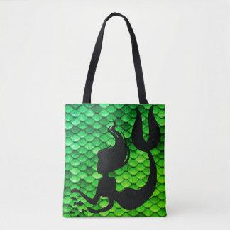 Mermaid Figure & Tail Scales Tote Bag