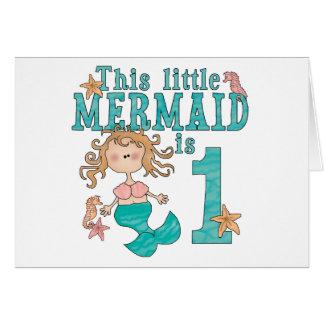 Mermaid First Birthday Invitations Note Card