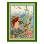 Mermaid Girl in Sea with Fish and Shells Postcards
