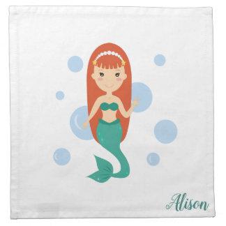 Mermaid girl name swimming in sea among bubbles napkin