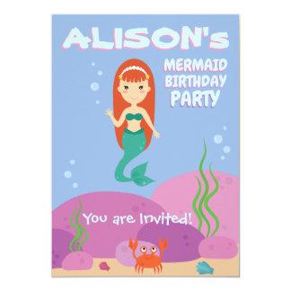 Mermaid girl ocean summer birthday part invitation