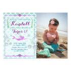 Mermaid Girl's Birthday Party Photo Invitation