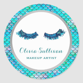 mermaid glitter lashes makeup artist on fish scale classic round sticker