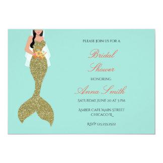 Mermaid Gold glitter mint green brunettes invite