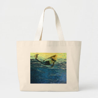 Mermaid Greeting the Dawn Large Tote Bag
