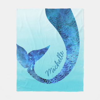 Mermaid Half Fun Custom Name Blue Fleece Blanket