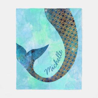 Mermaid Half Fun Custom Name Fleece Blanket