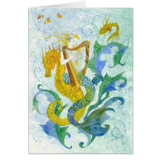 Mermaid Harpist Card
