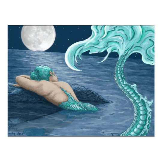 Mermaid in moonlite postcard