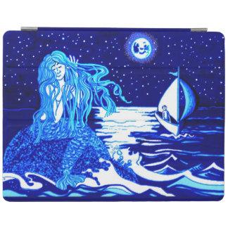 Mermaid in the moonlight combing her hair iPad smart cover