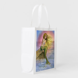 Mermaid in the setting sun reusable grocery bag