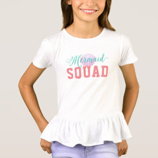 Mermaid in Turquoise and seashell Mermaid Squad T-Shirt