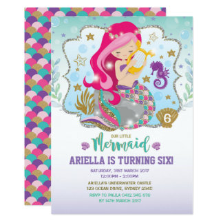 Mermaid Invitation Birthday Party Hot Pink Gold