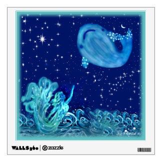 Mermaid is Reaching Toward a  Whale Wall Decal