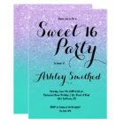Mermaid lavender turquoise glitter ombre Sweet 16 Card