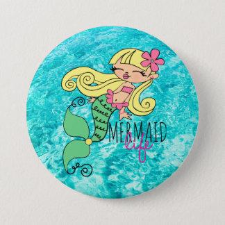 Mermaid Life BL 3 Inch Round Button