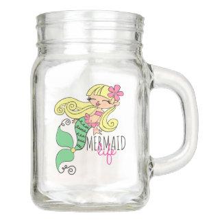 Mermaid Life Mason Jar, with Handle (12 oz) Mason Jar