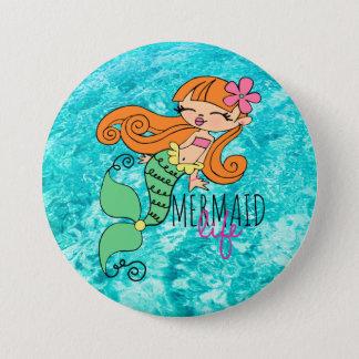 Mermaid Life RH 3 Inch Round Button