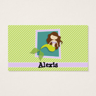 Mermaid; Lime Green & White Stripes Business Card