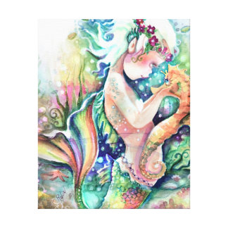 """""""Mermaid loves Seahorse"""" Wrapped Canvas"""