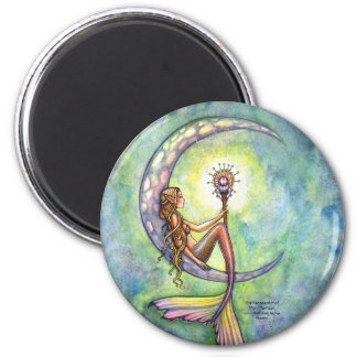 Mermaid Magnet, Mermaid Moon by Molly Harrison 2 Inch Round Magnet