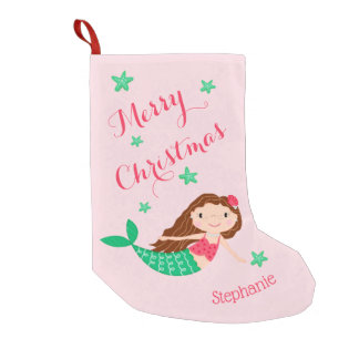Mermaid Merry Christmas Personalized Pink Small Christmas Stocking