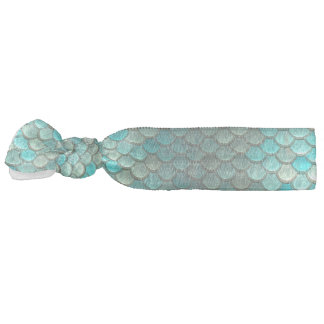 Mermaid minty green fish scales pattern hair tie
