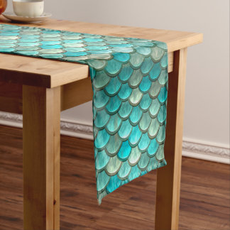Mermaid minty green fish scales pattern short table runner
