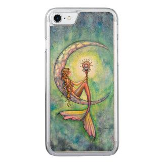 Mermaid Moon Fantasy Art iPhone 6 Wood Carved iPhone 7 Case