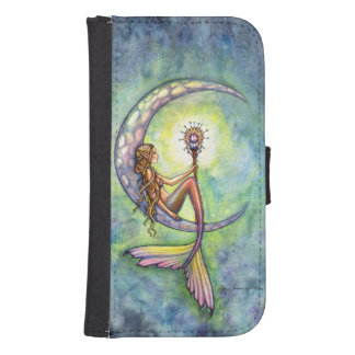 Mermaid Moon Watercolor Fantasy Art Samsung S4 Wallet Case