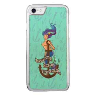 mermaid_msaquapurple_slimwood carved iPhone 8/7 case