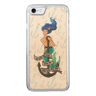 mermaid_msblue_slimwood carved iPhone 8/7 case