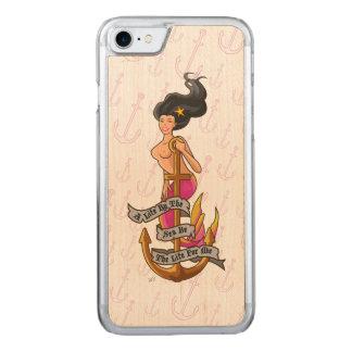 mermaid_mspink_slimwood carved iPhone 7 case