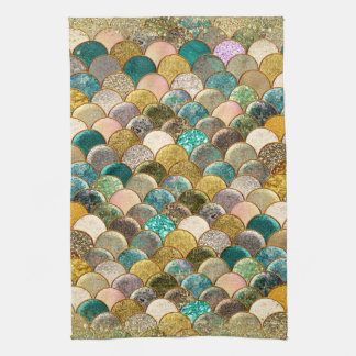 Mermaid Multi Color Glitter Glam Sea Scales Kitchen Towel