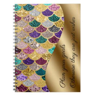 Mermaid Multicolor Gold Metal Sparkle Set Goals Notebook