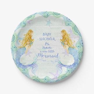 Mermaid n Starfish Baby Shower Watercolor Wood Art Paper Plate