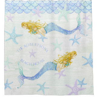 Mermaid n Starfish Family Name Beach House Decor