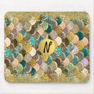 Mermaid Ocean Sea Scales Glamour Chic Glitter Mouse Pad