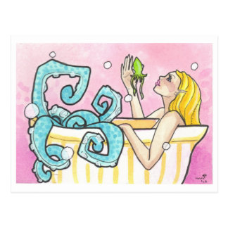 Mermaid Octopus in a Bathtub fantasy art postcards